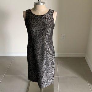 KASPER GRAY BLACK ANIMAL PRINT DRESS GU SZ 4